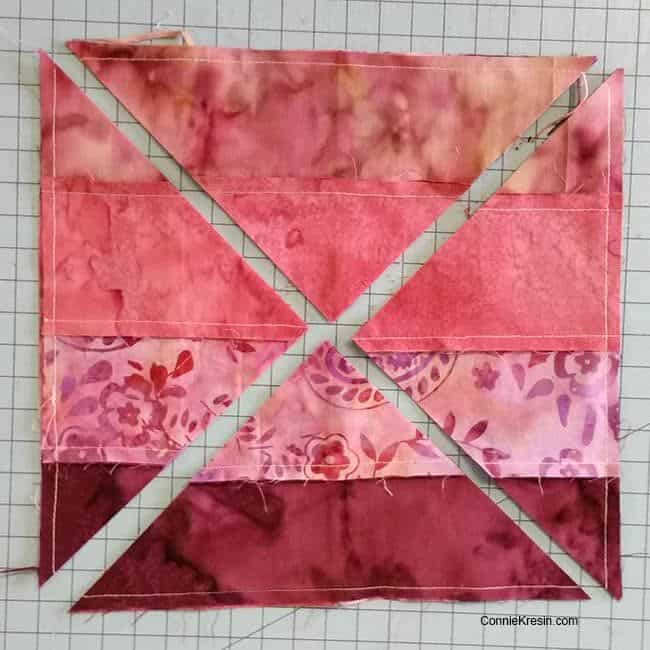Hidden Wells batik quilt block sew strips together