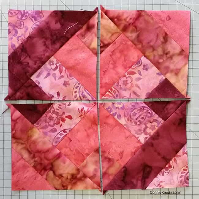 Hidden Wells batik quilt block finished