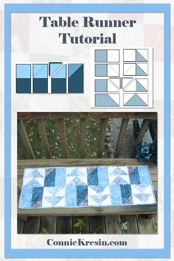 Winter Blues tablerunner tutorial is fast and easy to make