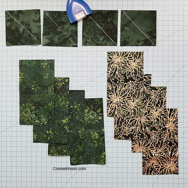Winter Greens table runner chisel quilt block pieces