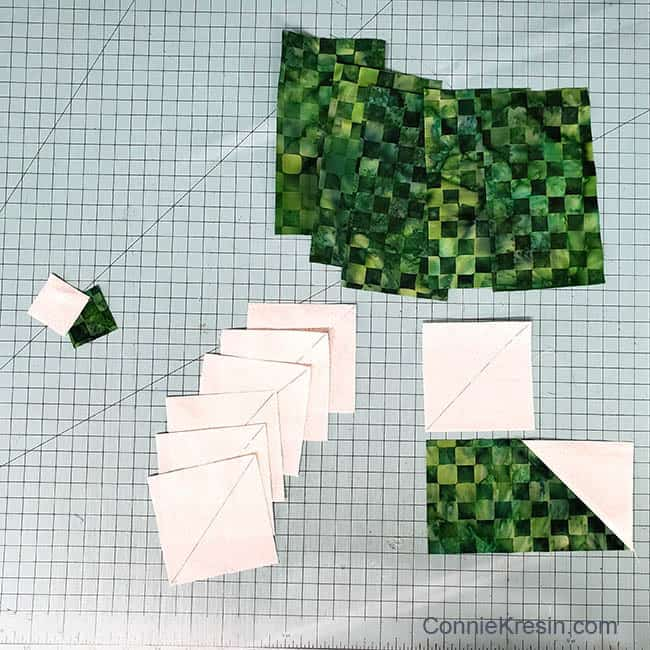 Winter Greens table runner cutting first blocks