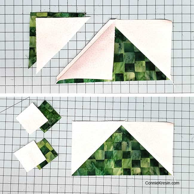 Winter Greens table runner cutting first blocks flying geese