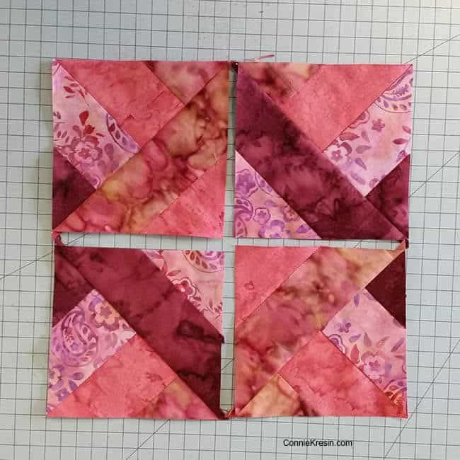 Hidden Wells quilt block sections to put together