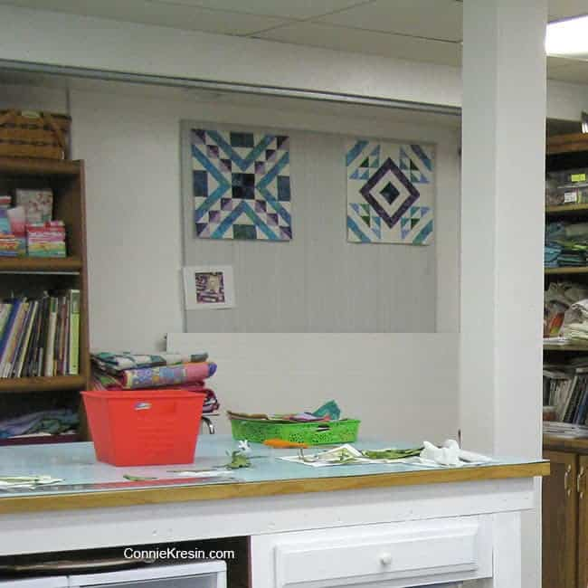 quilt studio with affinity block on design wall