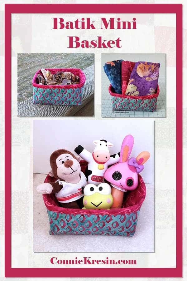 Batik mini fabric basket made using the Petit Four free tutorial