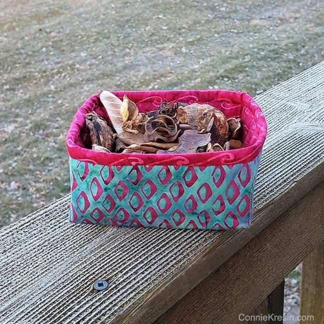 Batik Petit Four Basket with potpourri in it