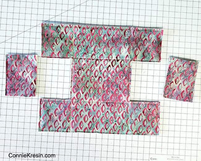 Batik Petit Four Basket from squares with foam stabilizer
