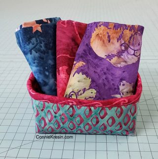 Batik Petit Four Basket with Alaska batiks
