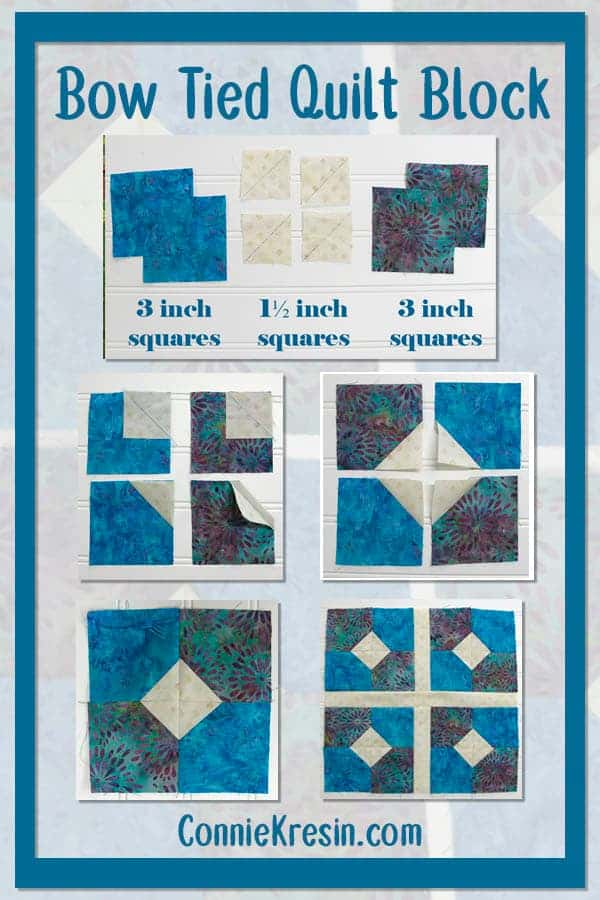 how to make a fast and easy Bow Tied quilt block tutorial