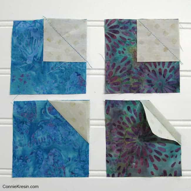 Bow Tie quilt block tutorial adding small square to corner