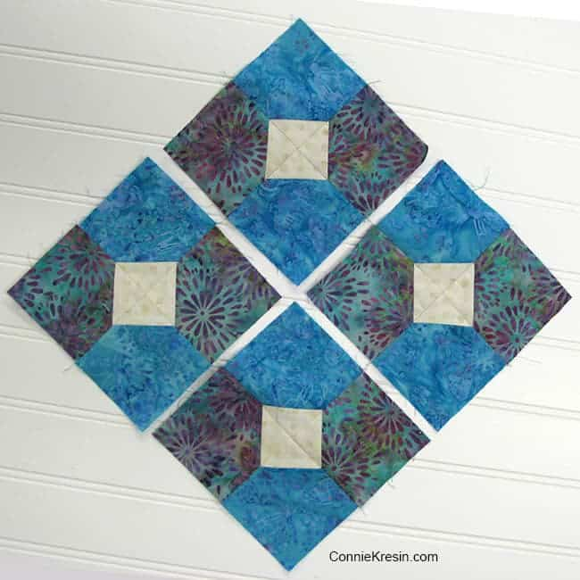 four Bow tied quilt blocks