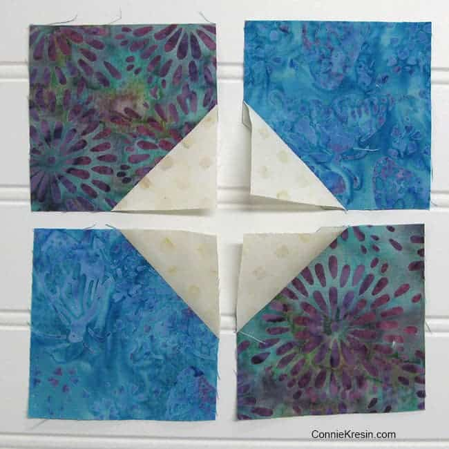 Easy Bow Tie quilt block tutorial using 3 inch squares and 1 1/2 inch squares