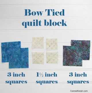 Easy Bow Tied quilt block tutorial using 3 inch squares and 1 1/2 inch squares