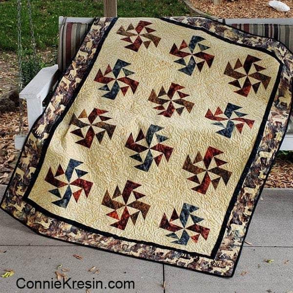 Crystal Swirls quilt pattern made with Elk Lodge batiks