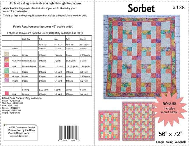 Sorbet quilt pattern made with the Ditty Island Batik collection