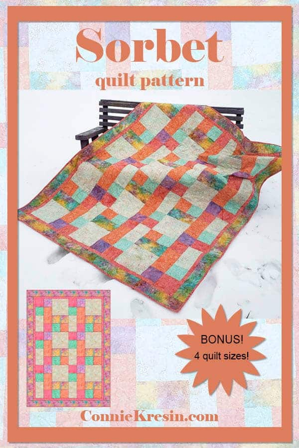 Easy beginner quilt pattern Sorbet in 4 sizes is fast to make