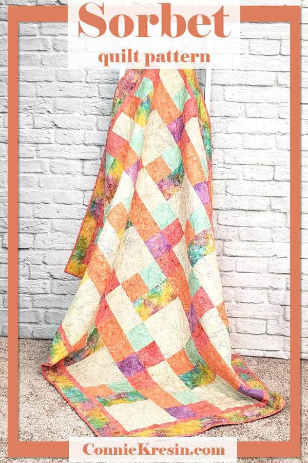 Sorbet quilt pattern for beginners in 4 sizes is easy to make