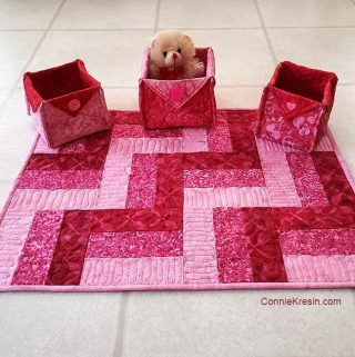 Three by Three easy table topper with fabric baskets