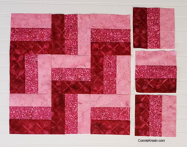 Three by Three easy table topper in pink batiks tutorial add 3 more blocks