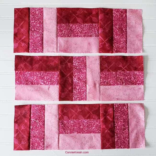 three by three quilt block arrange sections sew rows together