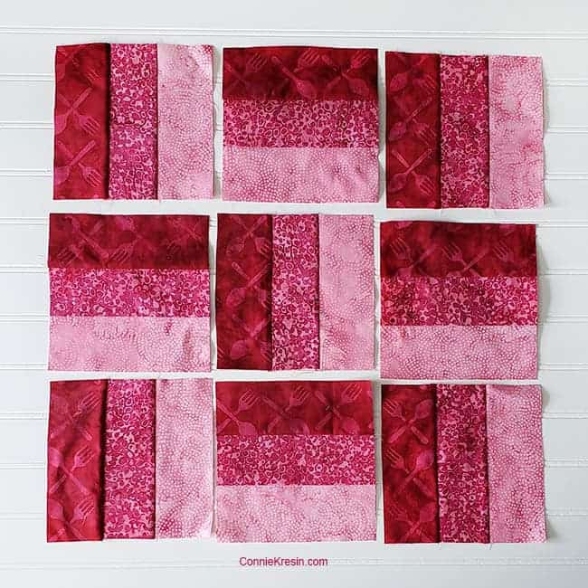 three by three quilt block arrange sections