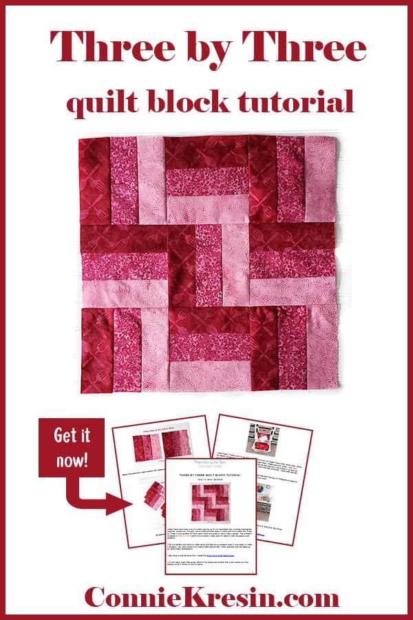 Three by Three quilt block tutorial