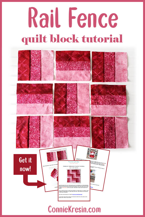 Quilt block tutorial for the 3 by 3 or rail fence block