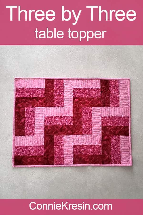 Three by Three easy table topper in pink batiks tutorial