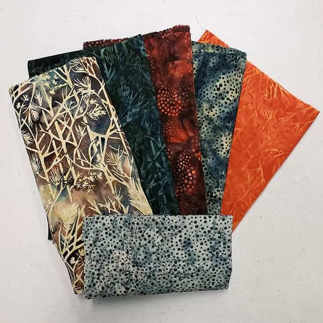 Elk Lodge fabric batiks for giveaway