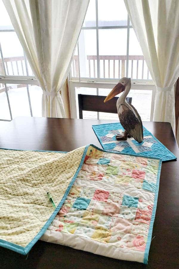 Pelly watching while I rip out quilt stitching