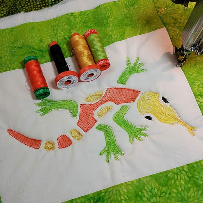 Aztec Lizard with Aurifil thread