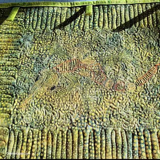 Backside of the Aztec Lizard stencil on batik