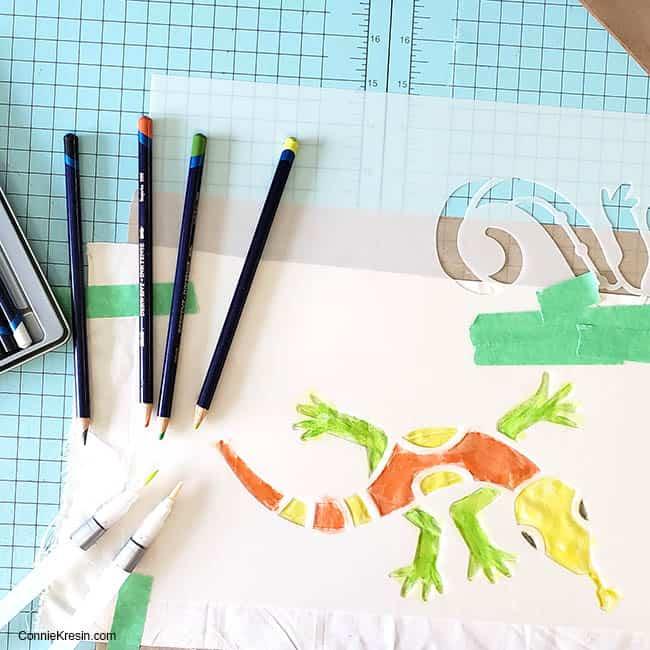Stencil Revolution Aztec lizard using Inktense pencils