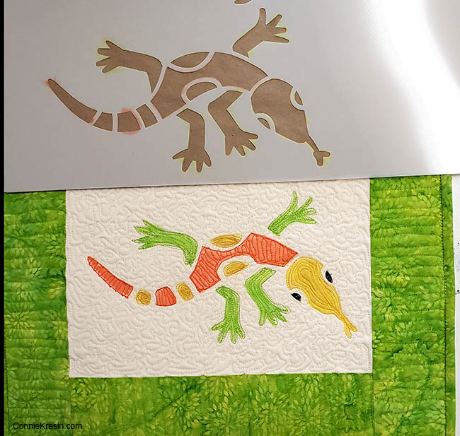 Aztec Lizard stenciled on muslin