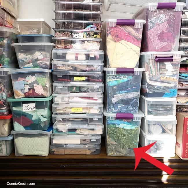 Fabric stash of box of batiks
