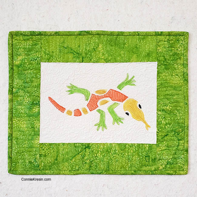 Stencil Revolution Aztec Lizard stencil on fabric