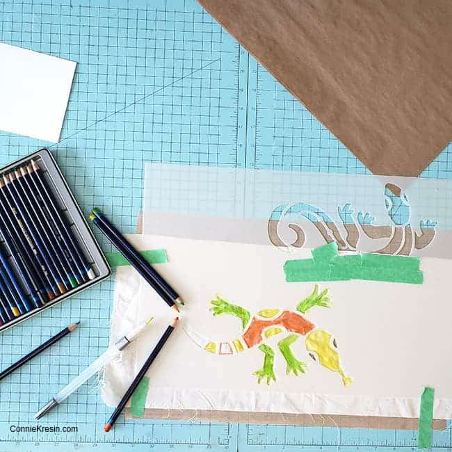 Stencil Revolution Aztec lizard using Inktense pencils
