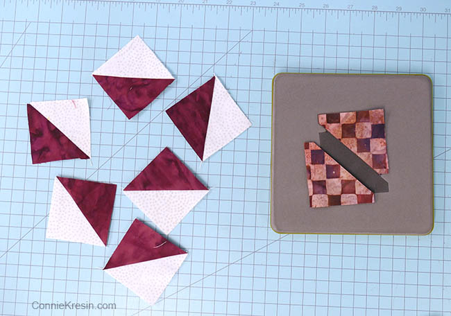 simple pinwheel quilt table runner tutorial block hst cut with AccuQuilt die