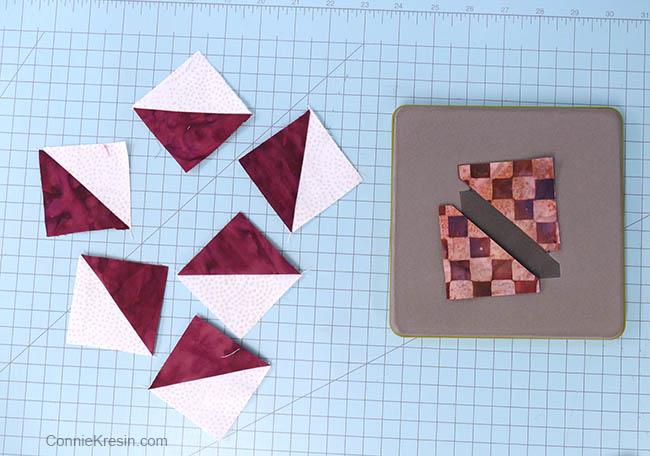 simple pinwheel quilt table runner tutorial block hst cut with AccuQuilt die