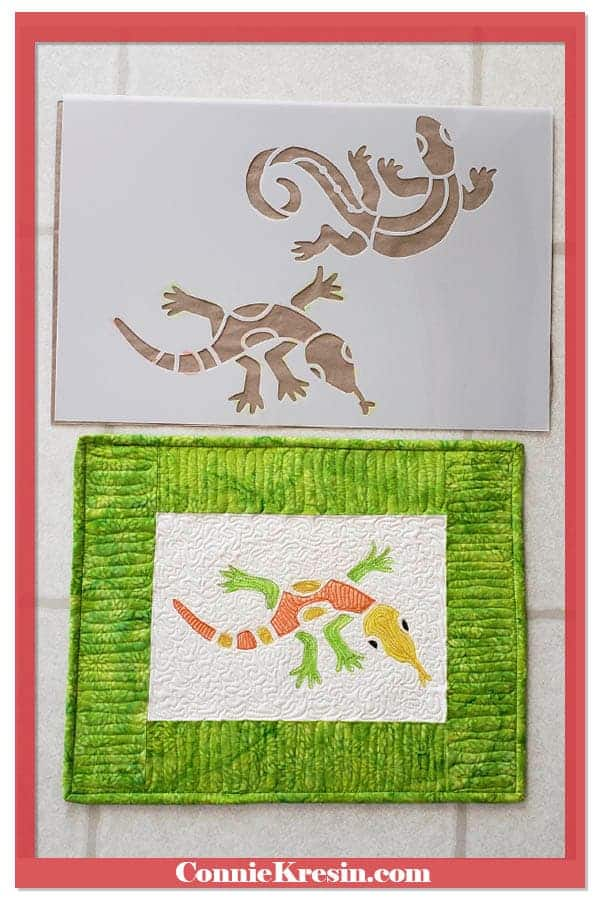 Stencil Revolution Aztec Lizards quilted wall hanging