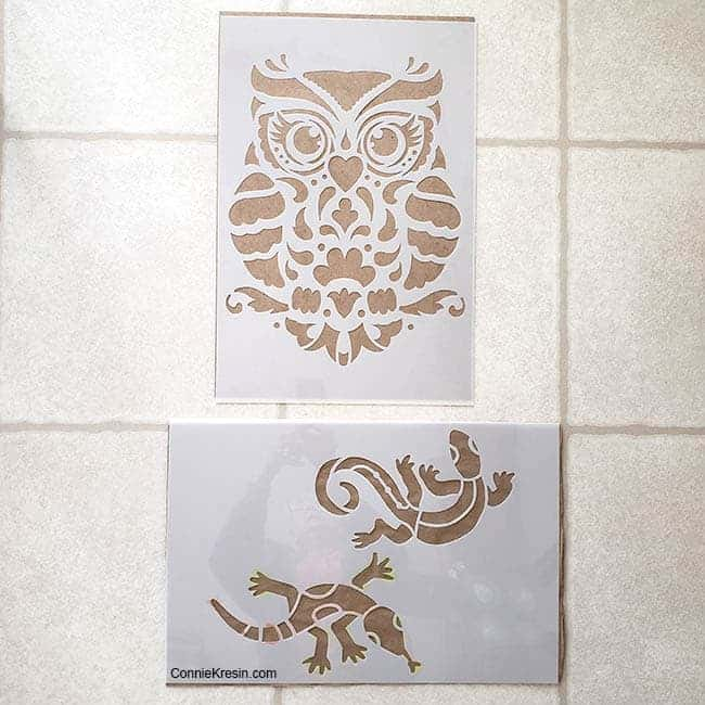 Stencil Revolution owl and lizard stencils