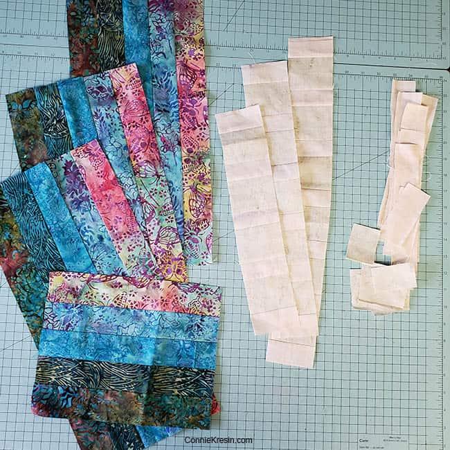 Bargello place mats made from batik scraps