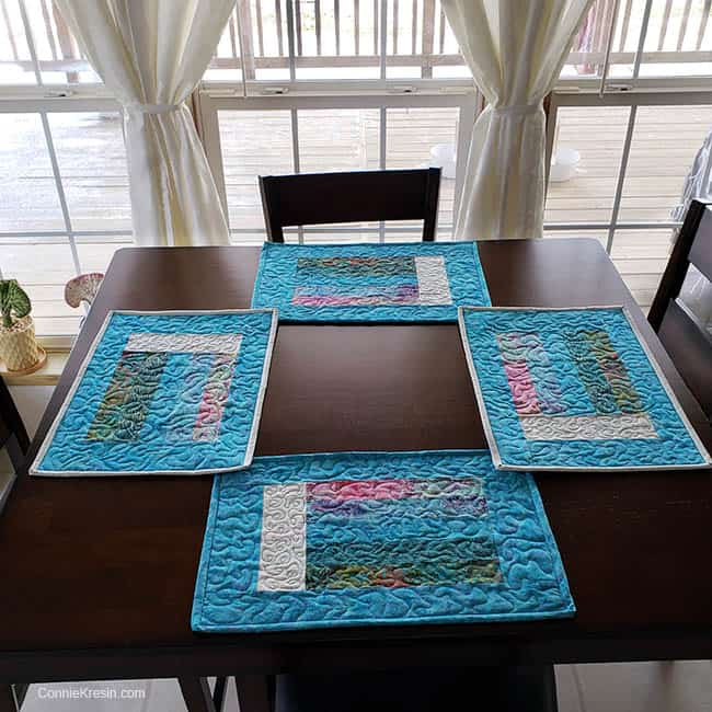 How to make Bargello Place Mats from Leftover Scraps shown on kitchen table