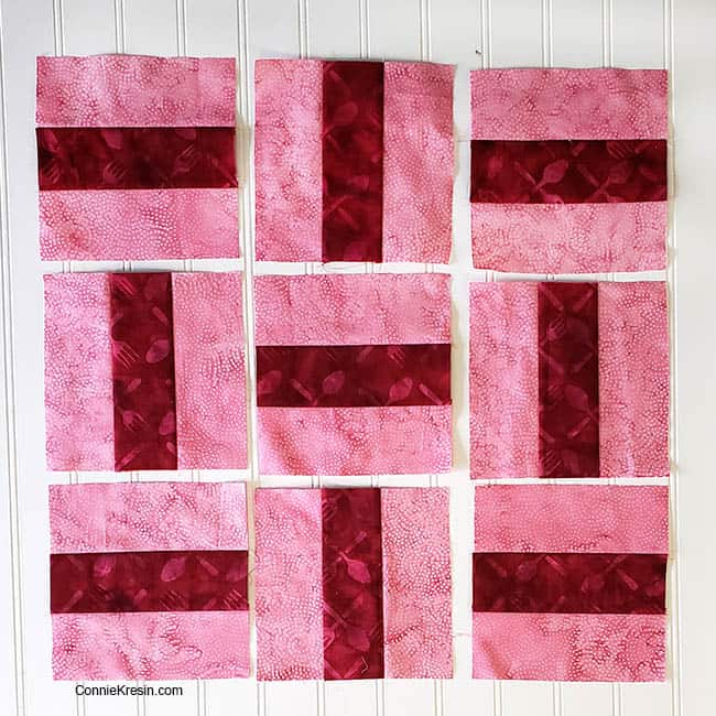 Three by Three 2 color quilt block nine blocks