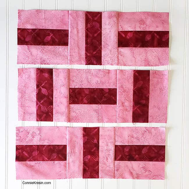 Three by Three 2 color quilt block nine blocks rows