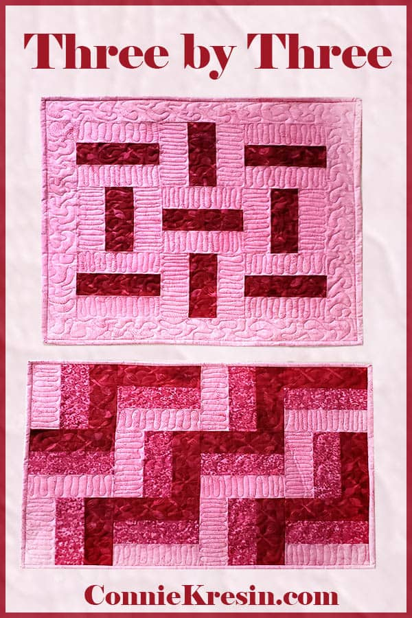 three by three quilt block table topper in just two colors or three colors