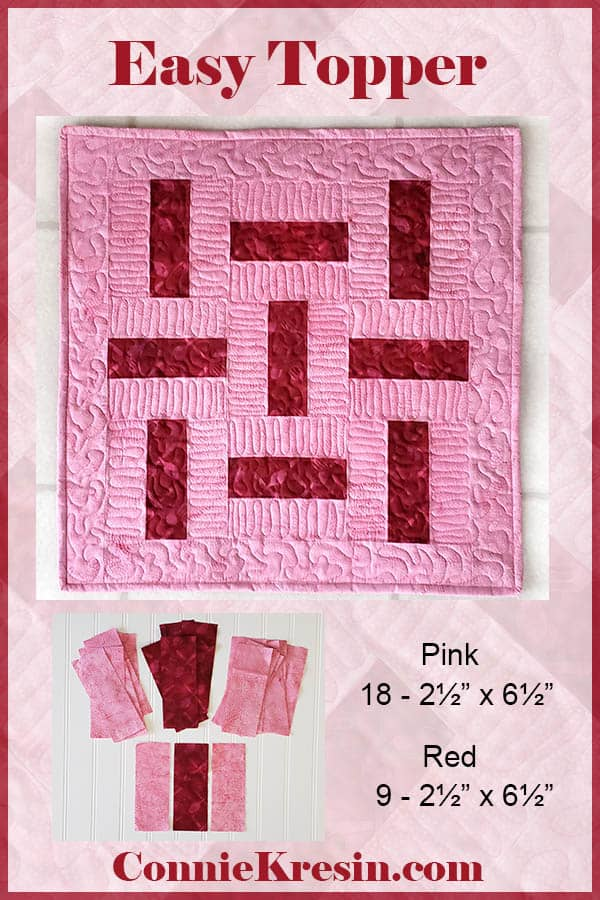 Another three by three quilt block table topper in just two colors