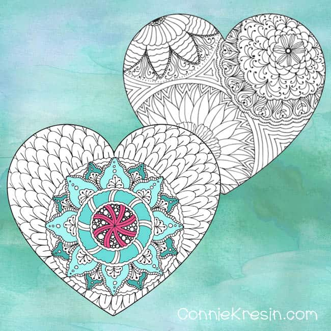 free Printable Valentine's Day Cards to Color two different ones
