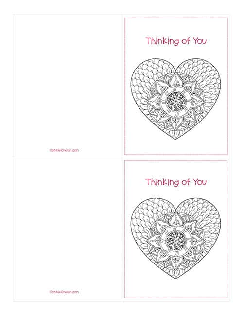 free Printable Valentine's Day Cards to Color Thinking of You