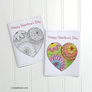 free Printable Valentine's Day Cards to Color perfect gift